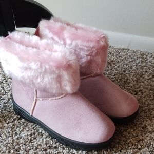 Shoes - Pink Faux Fur Booties